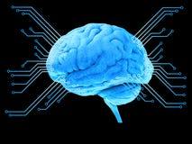Digital blå hjärnprocessor Stock Illustrationer