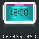 digital blå klocka för alarm Arkivbild