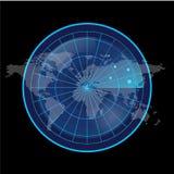Digital blå radarskärm och världskarta på svart bakgrund Fotografering för Bildbyråer