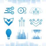 Digital blå teckenuppsättning för din design Arkivbilder
