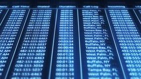 Digital-Blau computerisierte Telefonaufzeichnungen in der on-line-Datenbank lizenzfreie abbildung
