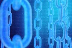 digital blockchainkod f?r illustration 3D Kedjesammanl?nkningar knyter kontakt Bin?r kod p? bakgrunden Begrepp av n?tverket stock illustrationer