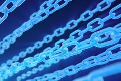 digital blockchainkod f?r illustration 3D Kedjesammanl?nkningar knyter kontakt Bin?r kod p? bakgrunden Begrepp av n?tverket royaltyfri illustrationer