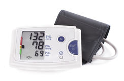 Digital blodtryckbildskärm för högt blodtryck - Tonometer Materiel I Fotografering för Bildbyråer