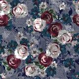 Digital blomma för sömlös vattenfärg och paisley modell stock illustrationer