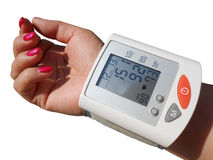 Digital blood preasure monitor. Digital Hypertension blood pressure monitor, isolated on white background. PNG format is available with full transparent royalty free stock photo
