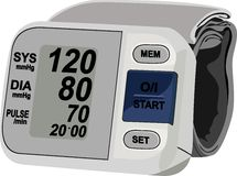 Digital blood pressure measurement equipment. Illustration of digital blood pressure measurement equipment showing control of human blood pressure Royalty Free Stock Image