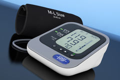 Digital Blood Pressure Monitor with Cuff. 3d Rendering Stock Photos