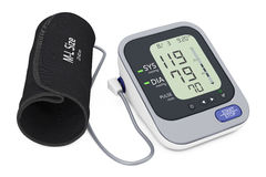 Digital Blood Pressure Monitor with Cuff. 3d Rendering Stock Image