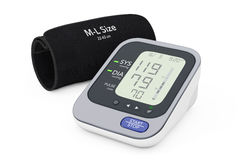 Digital Blood Pressure Monitor with Cuff. 3d Rendering Royalty Free Stock Photography