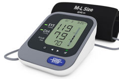 Digital Blood Pressure Monitor with Cuff. 3d Rendering Stock Photography