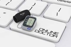 Digital Blood Pressure Monitor with Cuff over Computer Keyboard. With Online Doctor Sign extreme closeup. 3d Rendering Royalty Free Stock Images