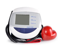 Digital blood pressure monitor with heart Stock Photos