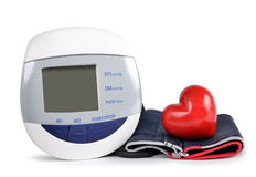 Digital blood pressure monitor with heart Royalty Free Stock Image