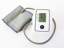 Digital Blood Pressure Monitor on white background.Close-up.Health and Medical concept. Automatic tonometer on a white background. Blood Pressure Control royalty free stock images