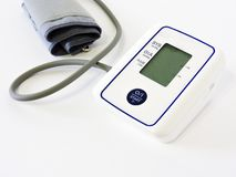 Digital Blood Pressure Monitor on white background.Close-up.Health and Medical concept. Automatic tonometer on a white background. Blood Pressure Control stock photos