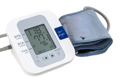 Digital blood pressure monitor on white background Stock Images