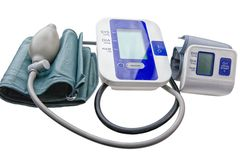 Digital blood pressure monitors. Close-up view to modern digital blood pressure monitors - tonometer stock photography
