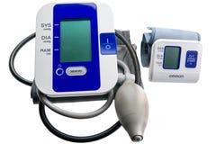 Digital blood pressure monitors. Close-up view to modern digital blood pressure monitors - tonometer stock images