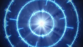 Digital blue audio form concentric circles. Abstract modern technology background. Computer graphics stock illustration