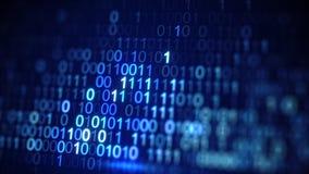 Digital blue binary data code close-up shot with DOF. Digital blue binary data code. Abstract information technology concept. Computer generated close-up shot Stock Image
