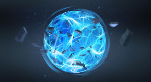 Digital blue exploding superpower ball 3D rendering Royalty Free Stock Images