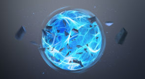 Digital blue exploding superpower ball 3D rendering Royalty Free Stock Photos