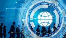 Digital Blue Hud Interface Global Concept vector illustration