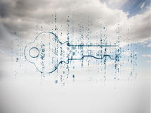 Digital blue key with matrix Royalty Free Stock Image