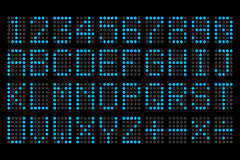 Digital blue letters and numbers display board Royalty Free Stock Images