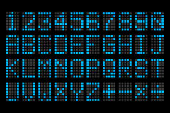 Digital blue letters and numbers display board. For airport schedules, train timetables, scoreboard etc Stock Photo