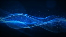 Digital blue particles wave with light motion abstract background