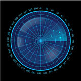 Digital Blue Radar Screen on Black Background Royalty Free Stock Photos