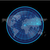 Digital Blue Radar Screen and World Map on Black Background Stock Image