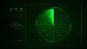 Digital blue realistic radar with targets on monitor in searching. Air search . Military search system .