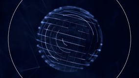 Digital, blue transparent sphere with small moving dots on its surface rotating nad receiving signals on dark blue royalty free illustration