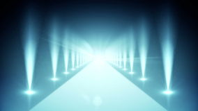 Digital blue walkway with spotlights stock video footage
