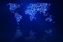 Digital blue world map Royalty Free Stock Images