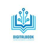 Digital bok - illustration för begrepp för vektorlogomall Idérikt tecken för ny utbildning Abstrakt symbol för modern skola stock illustrationer