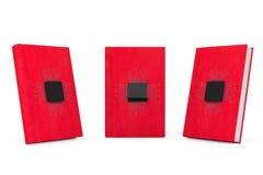 Digital bokbegrepp Mikrochipers med strömkretsen över röda böcker royaltyfri foto