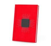 Digital bokbegrepp Mikrochips med strömkretsen över den röda boken Royaltyfri Foto
