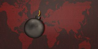 Digital bombarderar på digital bakgrund för röd värld illustration 3d stock illustrationer