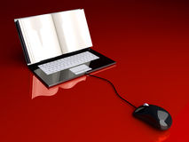 Digital Book. A digital book  on a laptop screen. Symbolic 3D rendered Illustration Stock Images