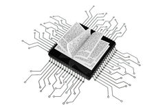 Digital Book Concept. Book over Microchips with circuit Stock Images