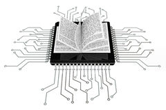Digital Book Concept. Book over Microchips with circuit Stock Image