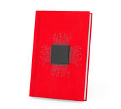 Digital Book Concept. Microchip with circuit over Red Book Royalty Free Stock Photo