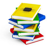 Digital Book Concept. Microchip with circuit over Stack of Books Stock Photos