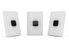Digital Book Concept. Microchips with circuit over Blank Books Royalty Free Stock Photos