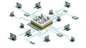 Smart city, building connecting connect server system. Internet of things technology, 3D dimension view.