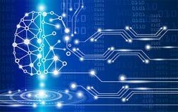 Digital brain genius. Technology concept,digital brain genius with electric circuit Royalty Free Stock Image